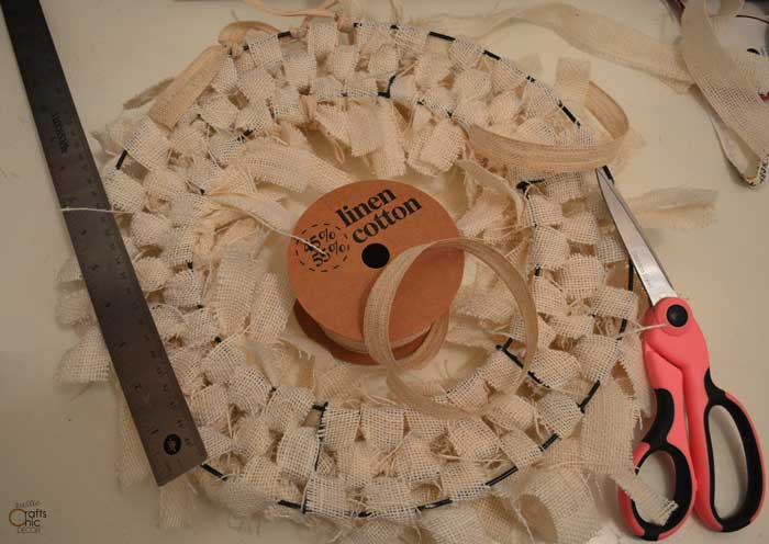 white burlap wreath back