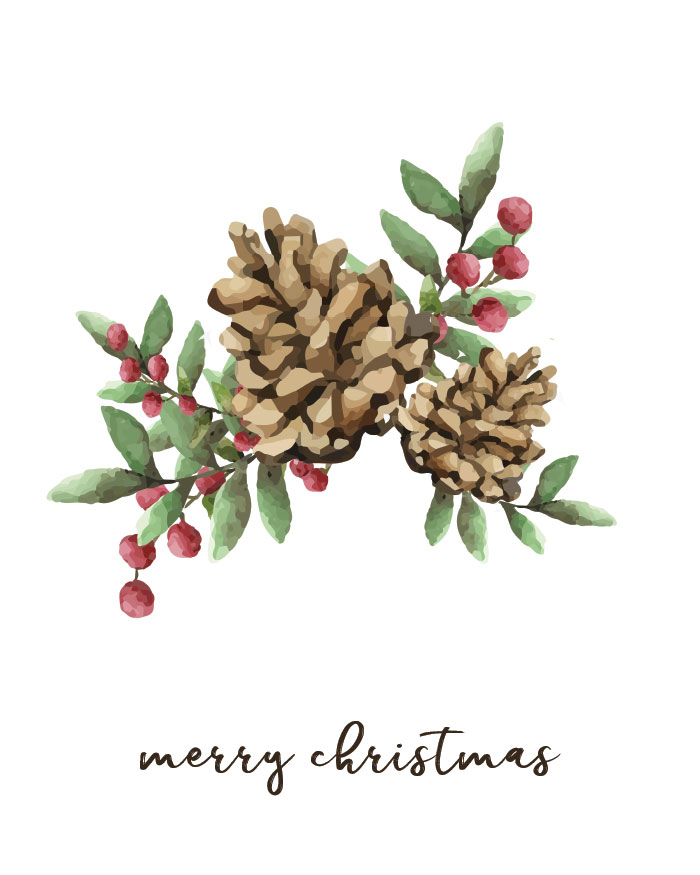 watercolor nature Christmas images