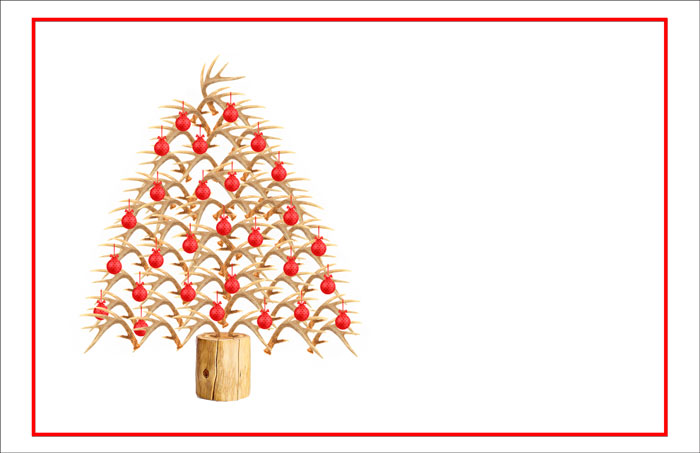 antler christmas tree image in red