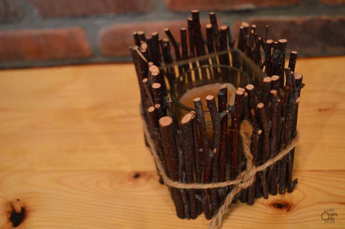 birch twig candle holder