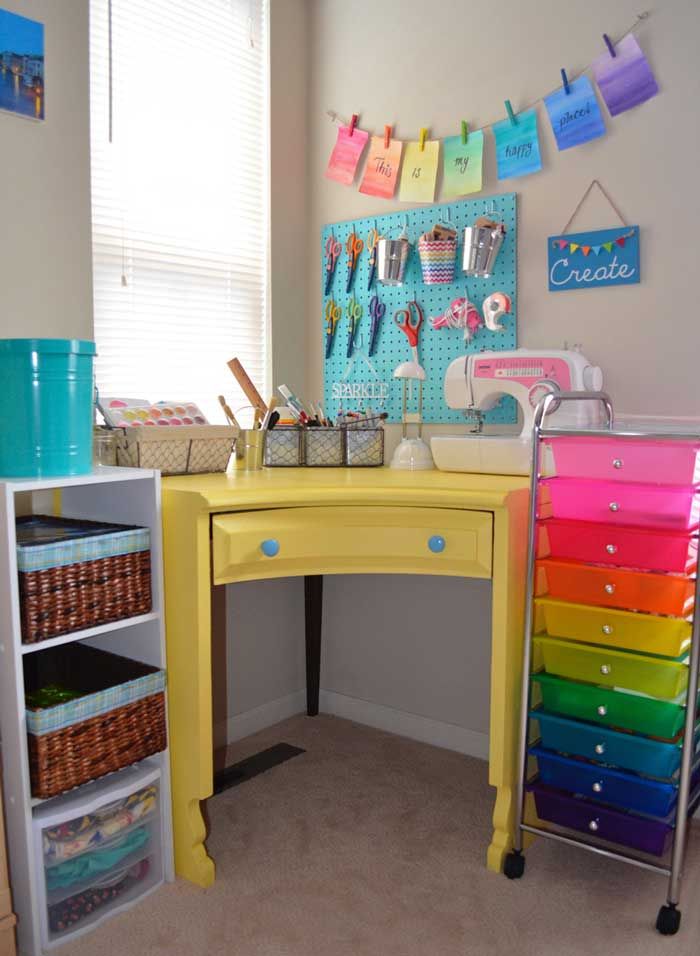 craft room decor with pops of bright color