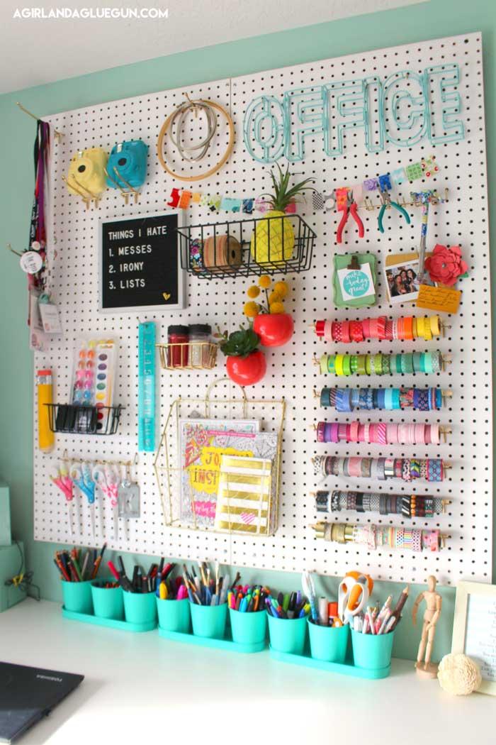 creative peg board craft storage