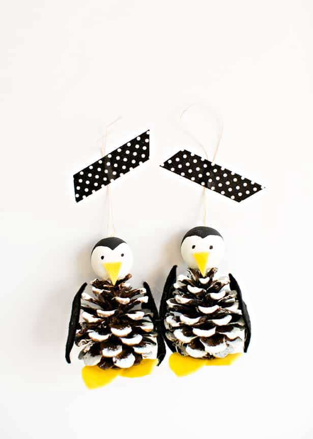 diy pine cone penguin ornaments