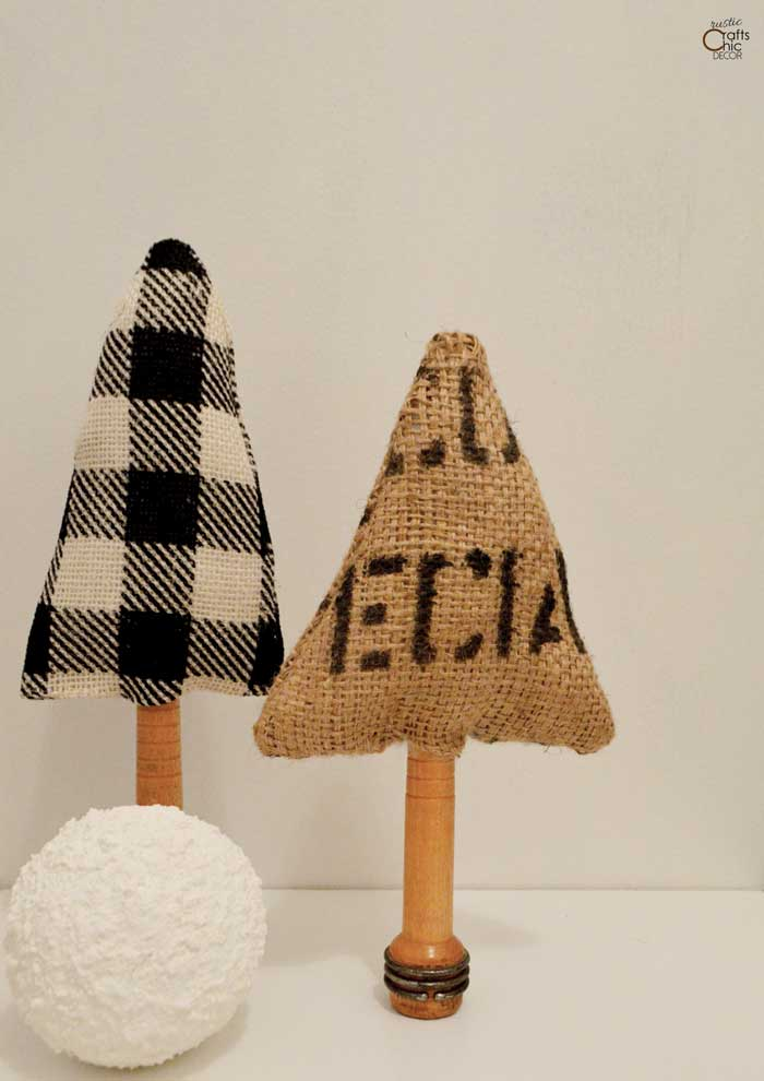 fabric christmas trees made with burlap