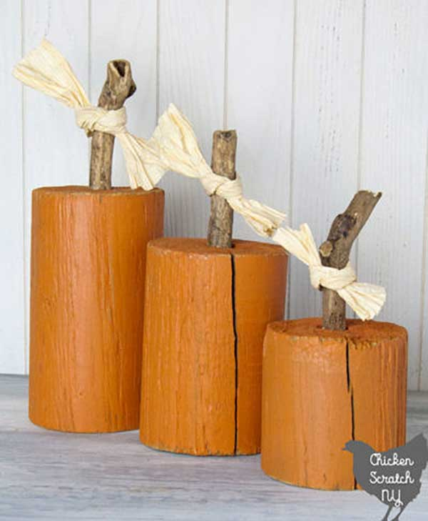 fence post pumpkins