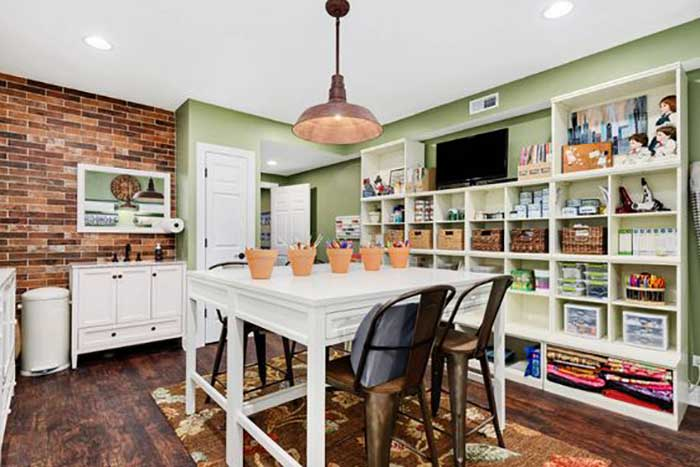 painted green craft room walls