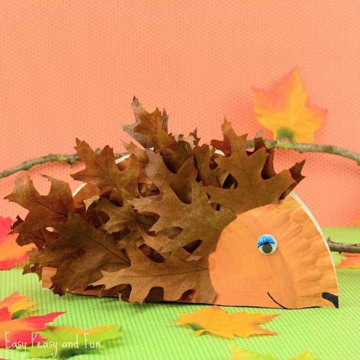 leaf hedgehog craft