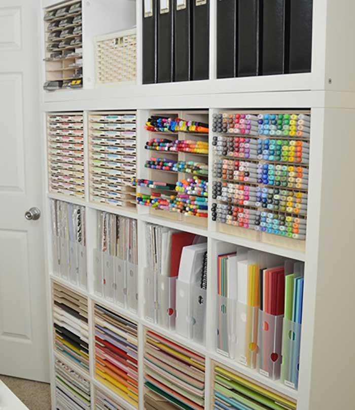 craft room open storage shelving