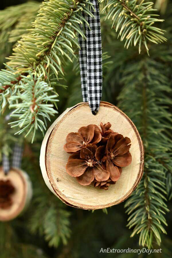Pinecone and birch Christmas ornament