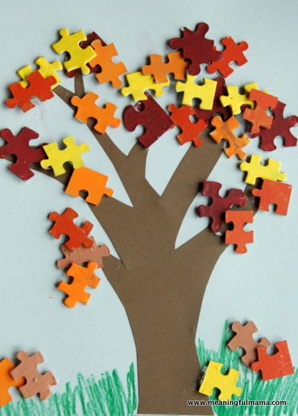 puzzle piece tree leaves craft