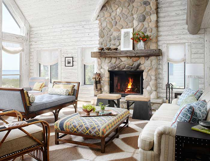 white washed rustic cabin log walls