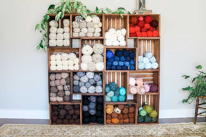yarn storage in wooden crates