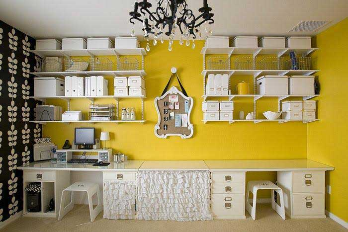 yellow walls in craft room