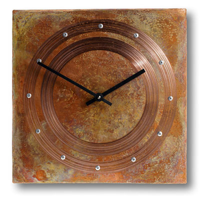 12 inch square rustic copper wall clock