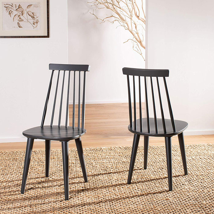 grey spindle rustic dining chairs