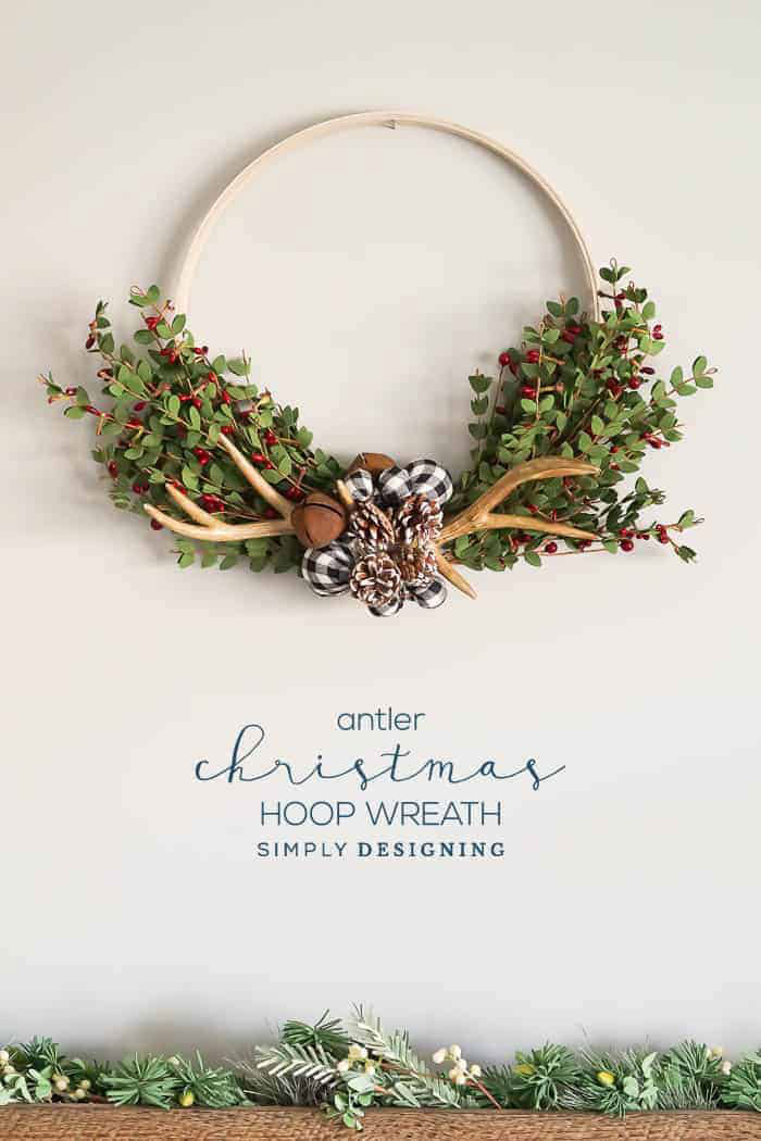 antler christmas hoop wreath