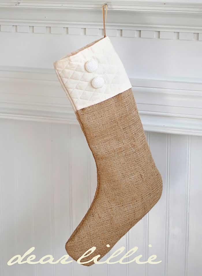rustic burlap christmas stocking