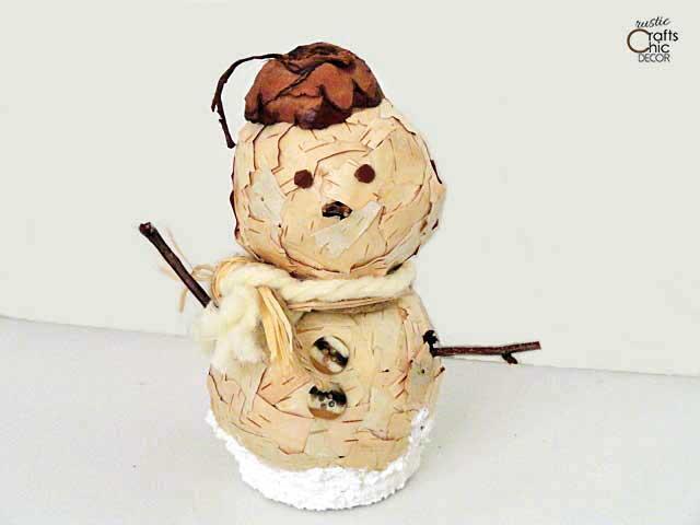 diy birch bark snowman