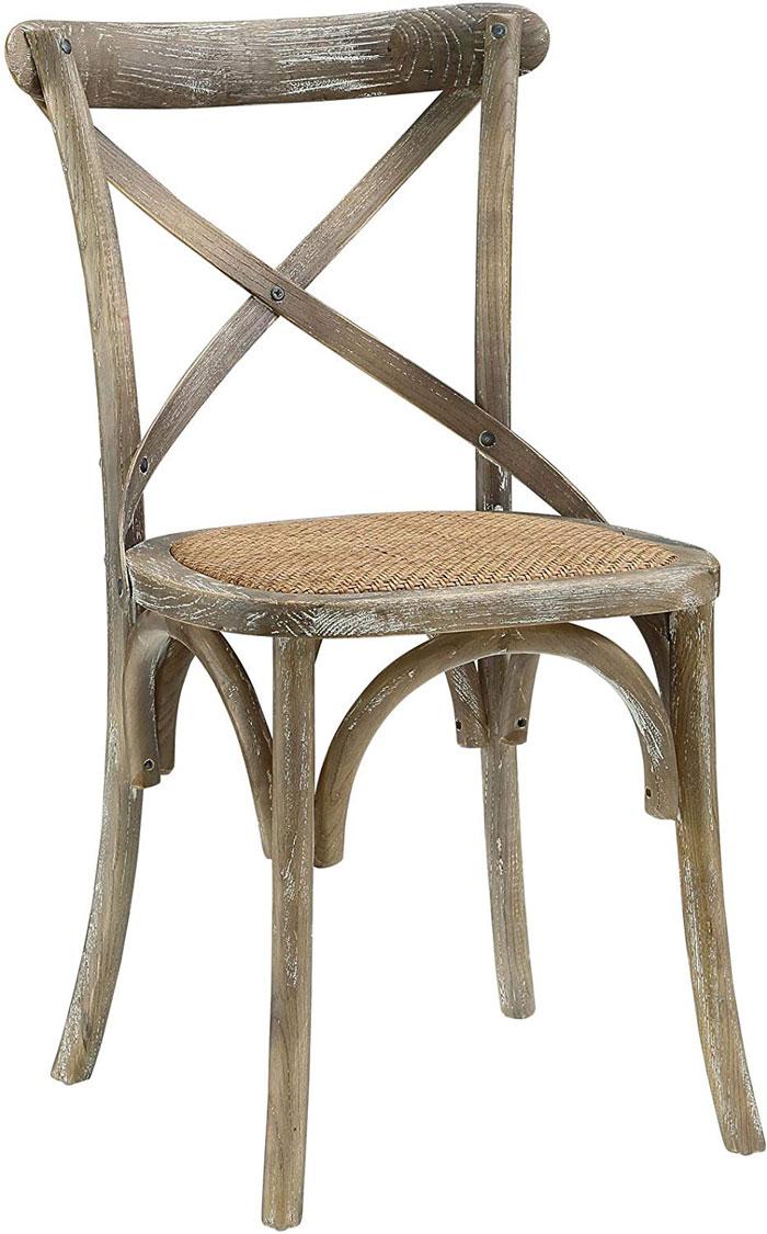 elmwood and rattan farmhouse chair