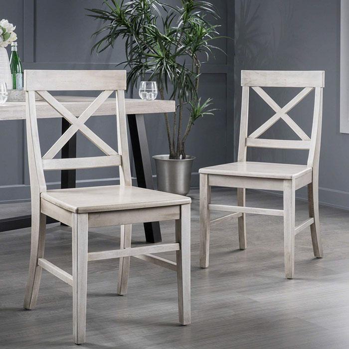 farmhouse acacia wood dining chairs