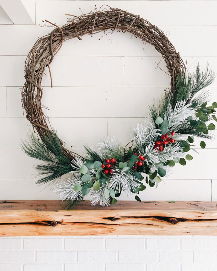 rustic grapevine christmas wreath