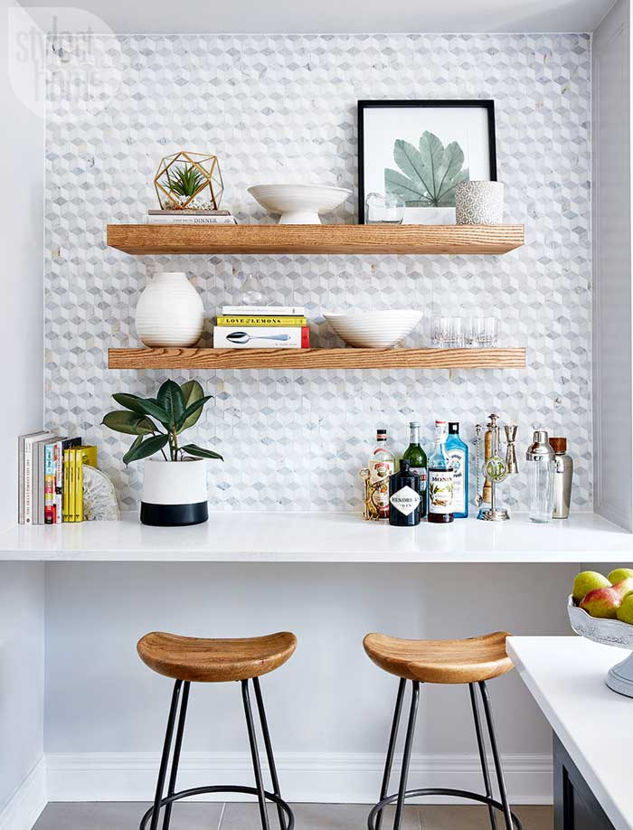open shelving in a kitchen
