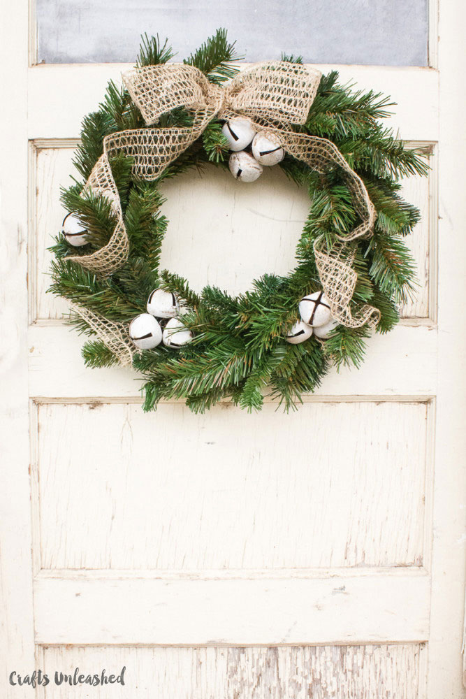 rustic bell christmas wreath