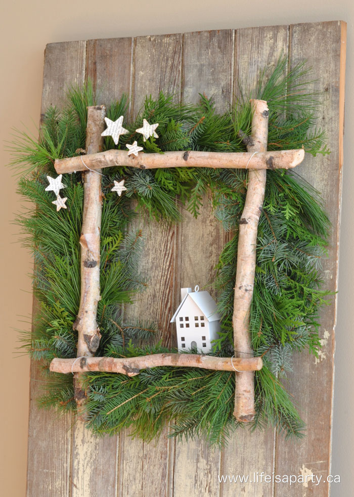 rustic birch christmas wreath