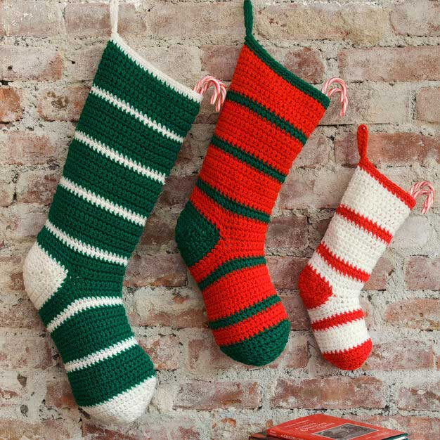 rustic crocheted christmas stockings