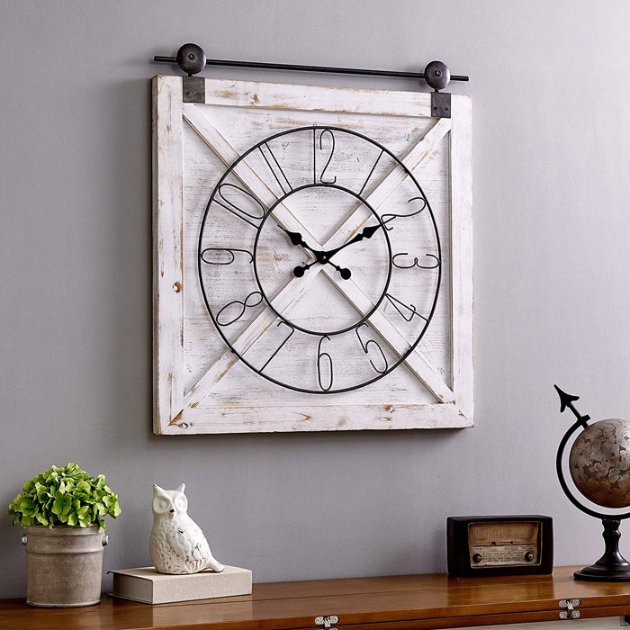 rustic farmhouse barn door wall clock
