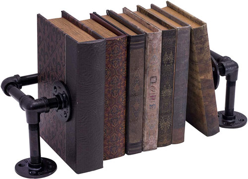 rustic industrial pipe book holder