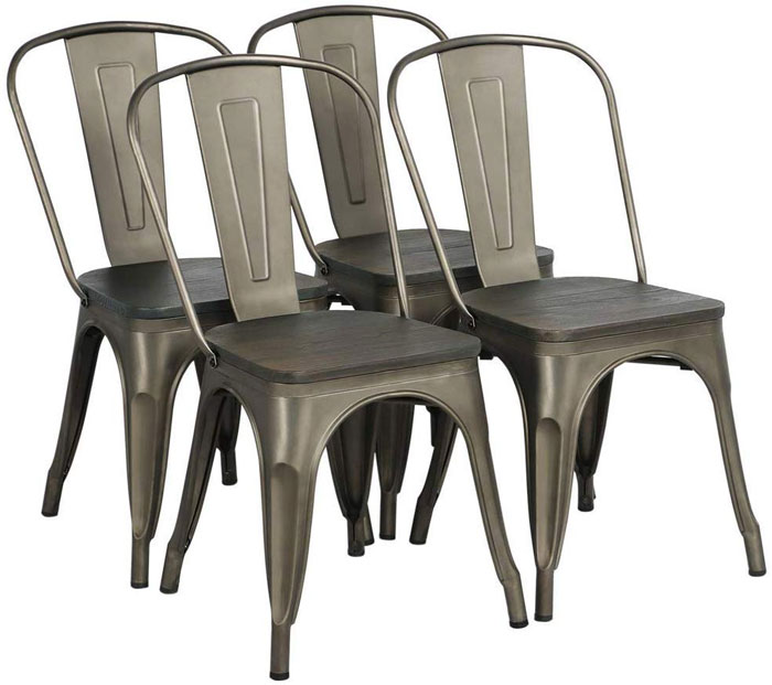rustic industrial dining chair set
