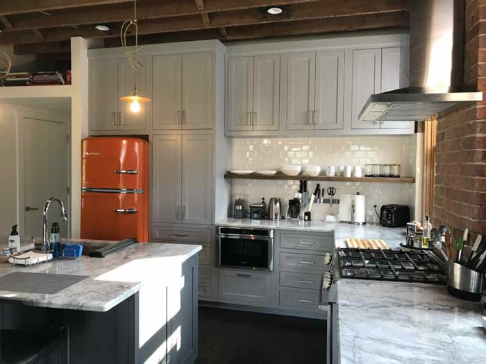 rustic kitchen with high end appliances