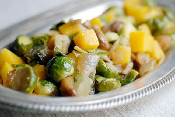squash, brussel sprouts, and chestnuts