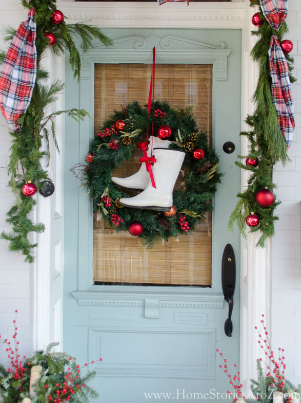 winter boot christmas wreath