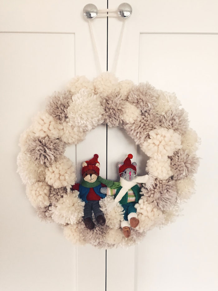 yarn pom pom winter wreath