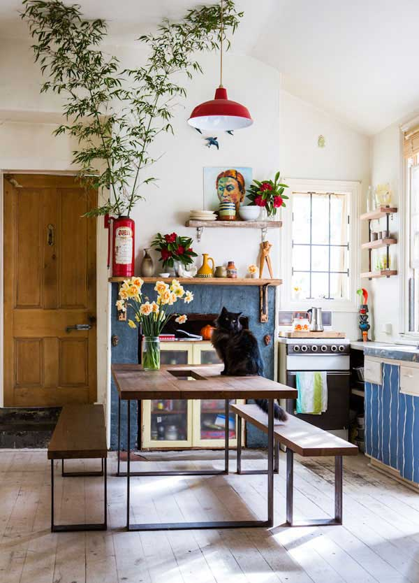 artsy and eclectic kitchen
