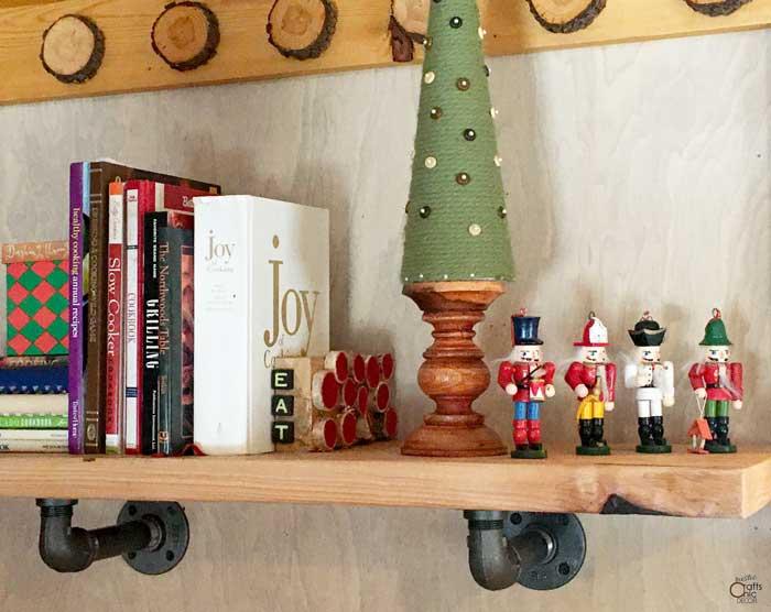 red wood slice cookbook stopper