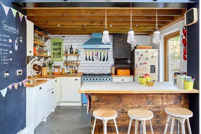 colorful modern rustic kitchen