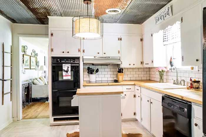 corrugated metal kitchen ceiling