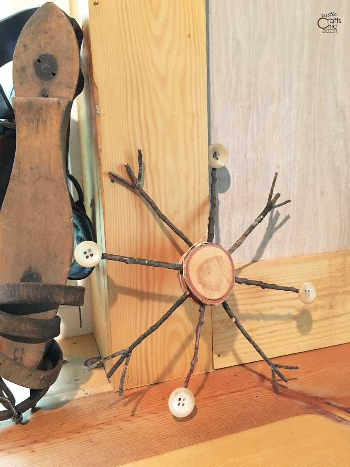 DIY twig snowflake