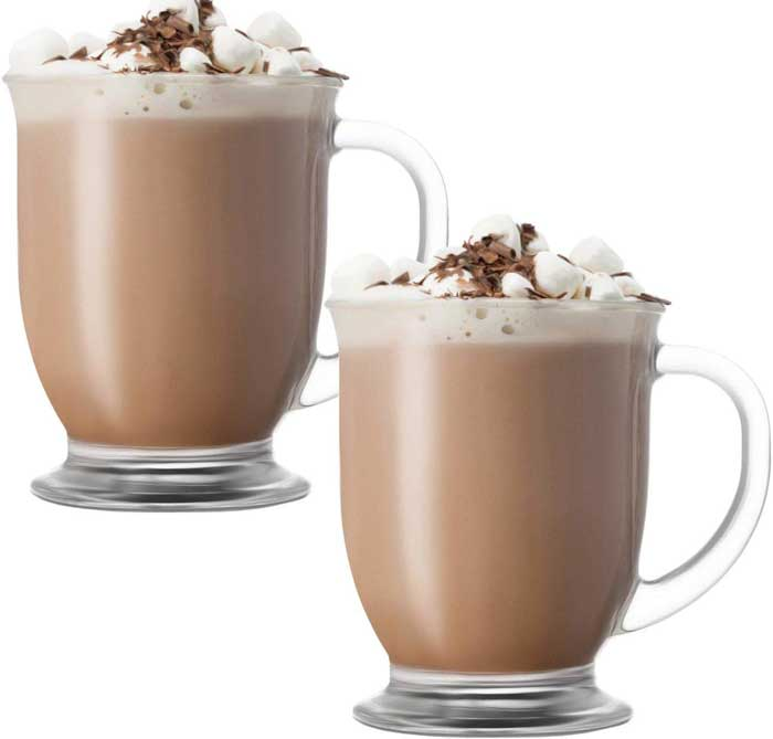 glass hot chocolate mugs