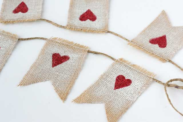 burlap heart garland craft