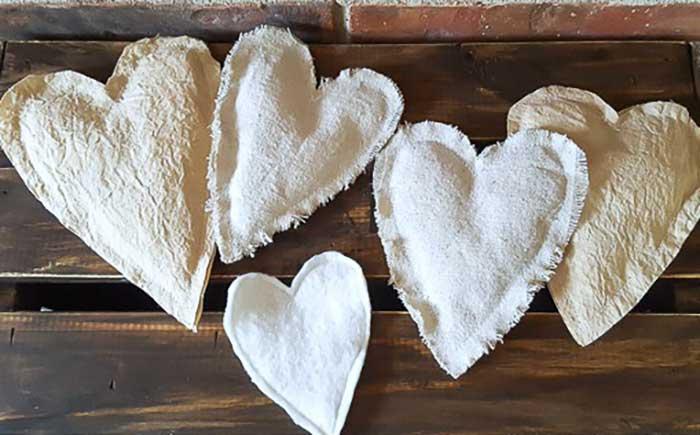 farmhouse fabric hearts