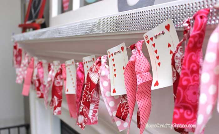 diy heart card garland