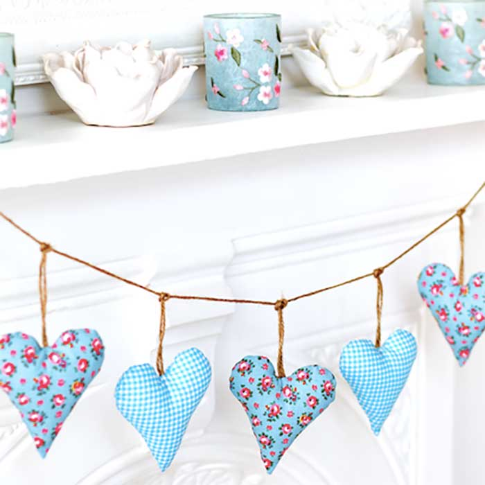 fabric heart bunting filled with lavendar