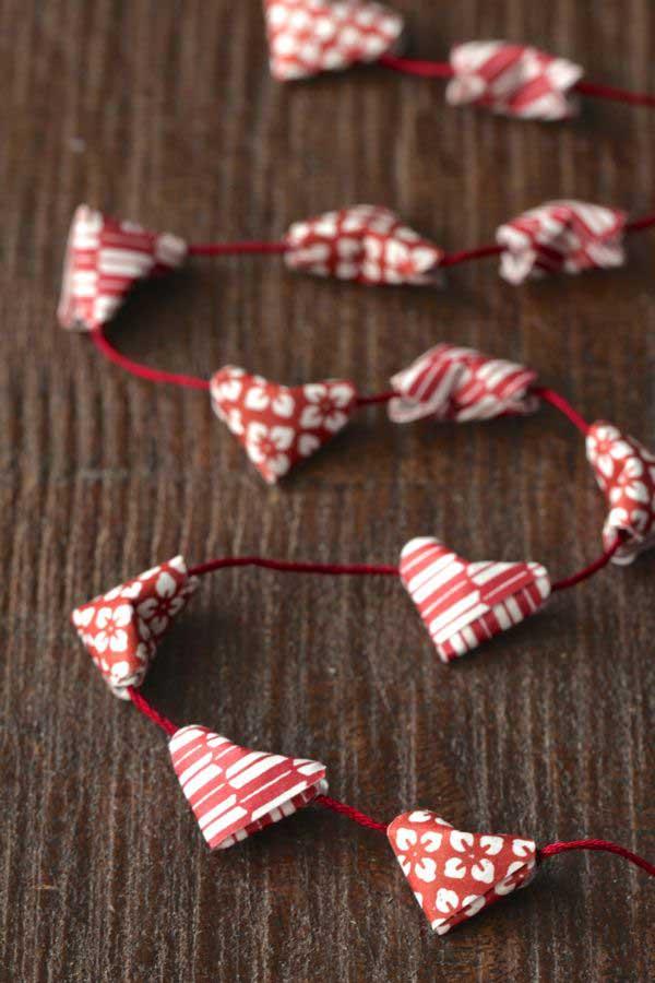 mini origami heart bunting