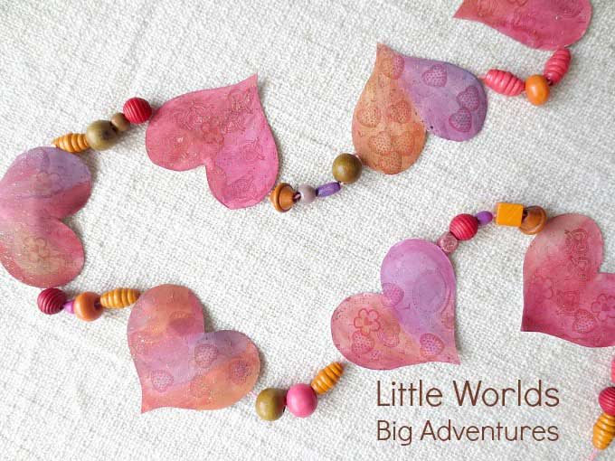 paper and bead heart garland