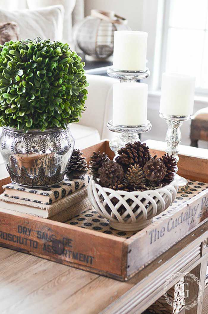 rustic crate coffee table decor