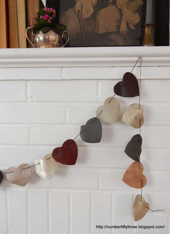 scrap leather heart garland